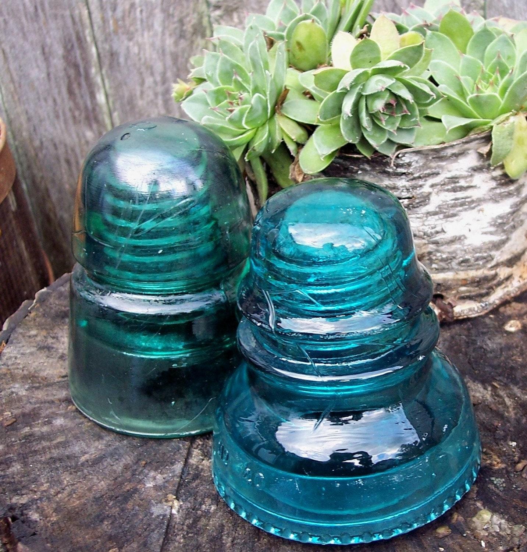 Glass telephone pole insulators set of 2 blue by for Glass telephone pole insulators
