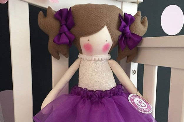 Hand made Bella girl Rag Doll purple tutu skirt brown shoes with purple ribbon detail bailarina style and hair bows