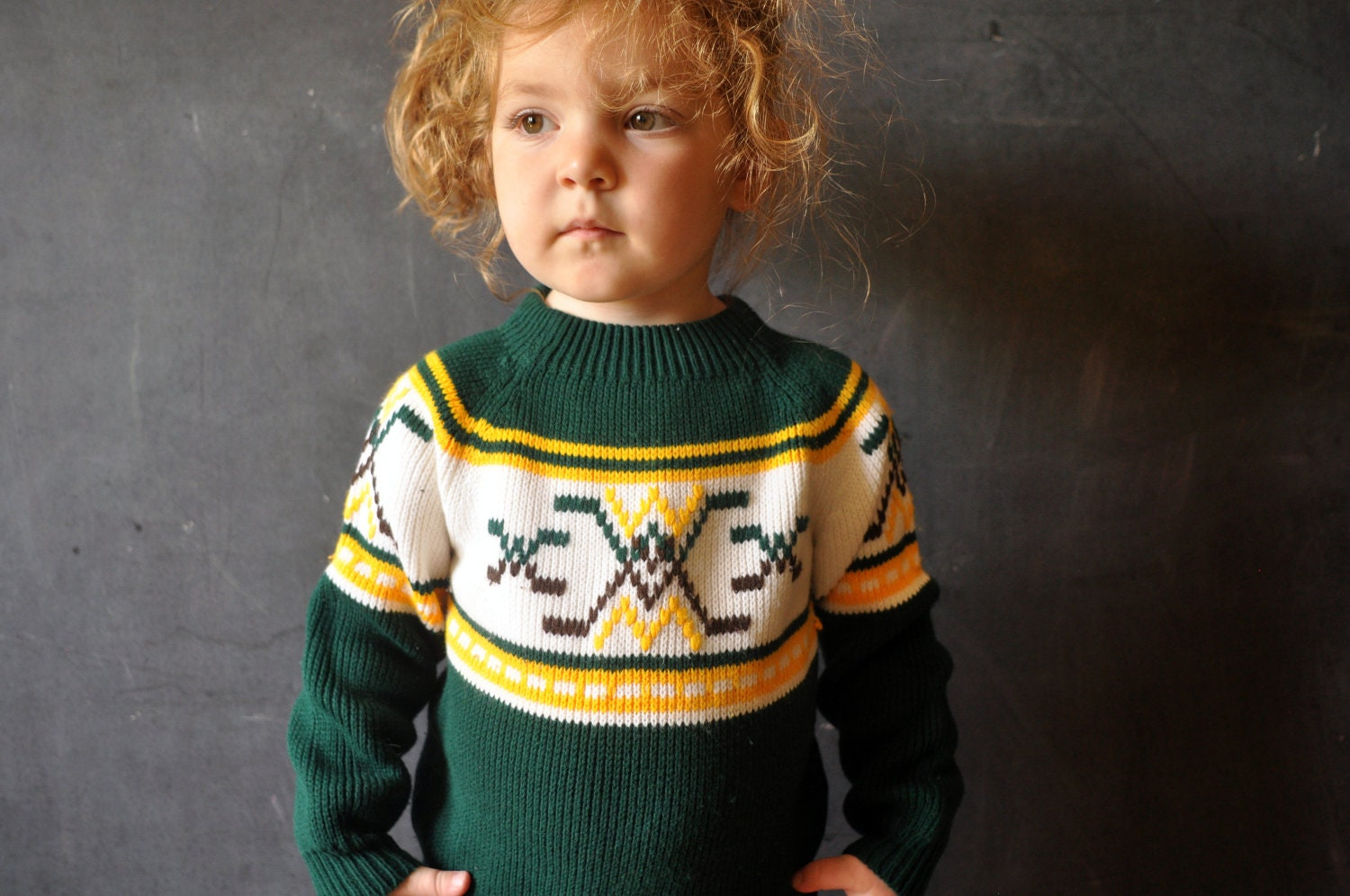 retro kids hockey sweater, green, white yellow and brown, size4-5, knit - LaDiDottie