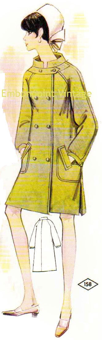 Plus Size (or any size) Vintage 1969 Coat Pattern - PDF - Pattern No 158 Amber