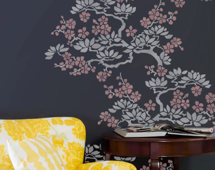 Wall Stencil Plant Flower Branches Tree Allower by OMGstencils