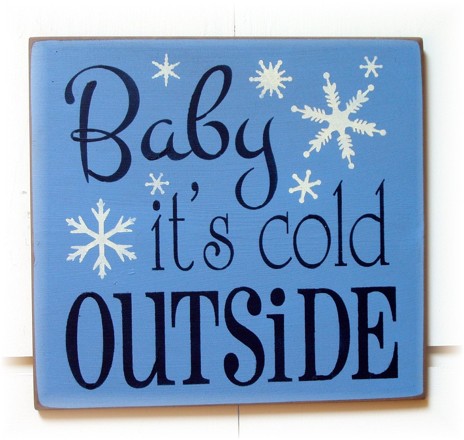 items similar to baby it s cold outside wood typography sign on etsy