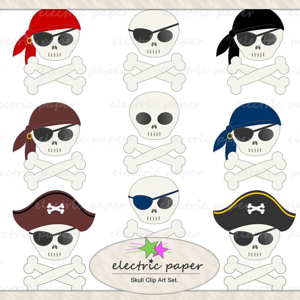 Cute Skull Clip Art Set 9 Pirate Skulls Instant by ...
