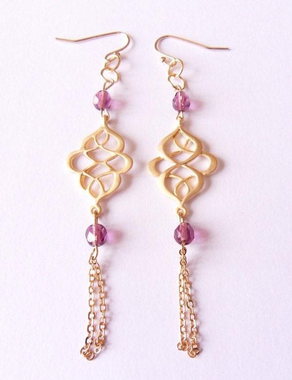 Boucles doreilles pendantes, boucles doreilles perles, boucles doreilles perles violet orientales boucles doreilles, boucles doreilles gland par SABOT