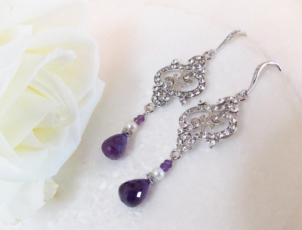 Amethyst Gemstone Wedding Bridesmaid Chandelier Earrings With .925 Sterling Silver Hooks - Swarovski Crystal Rhinestones - Cultured Pearls