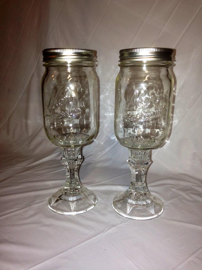 Mason Jar Wine Glasses. Redneck Wine Glass. Recycled Canning Jars.