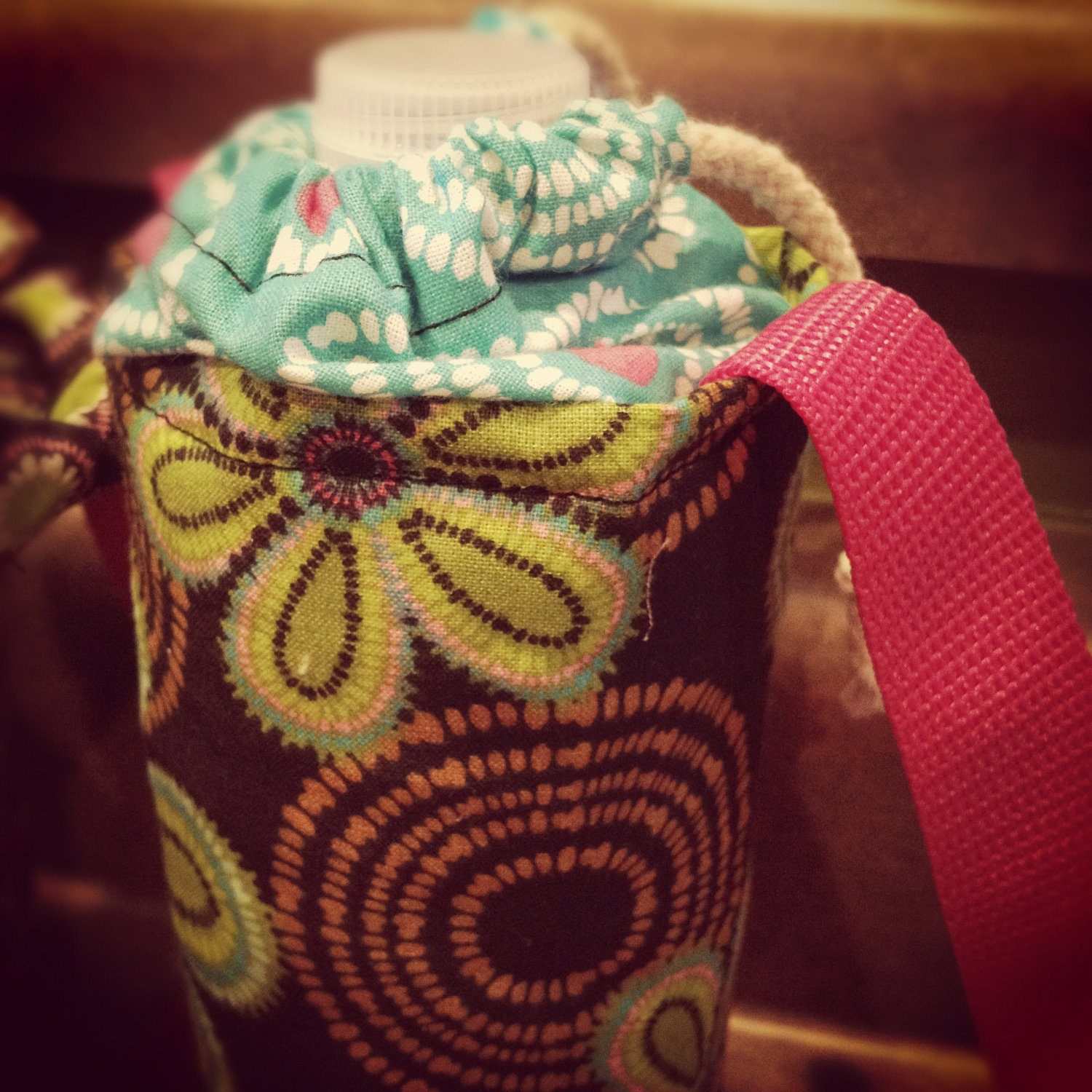 Insulated Water Bottle Carrier-Black and Teal Floral