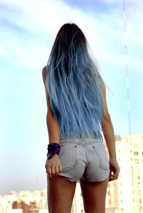 Items Similar To Sky Blue Ombre Hair Extensions Blue Dip Dye Hair Dark Brow