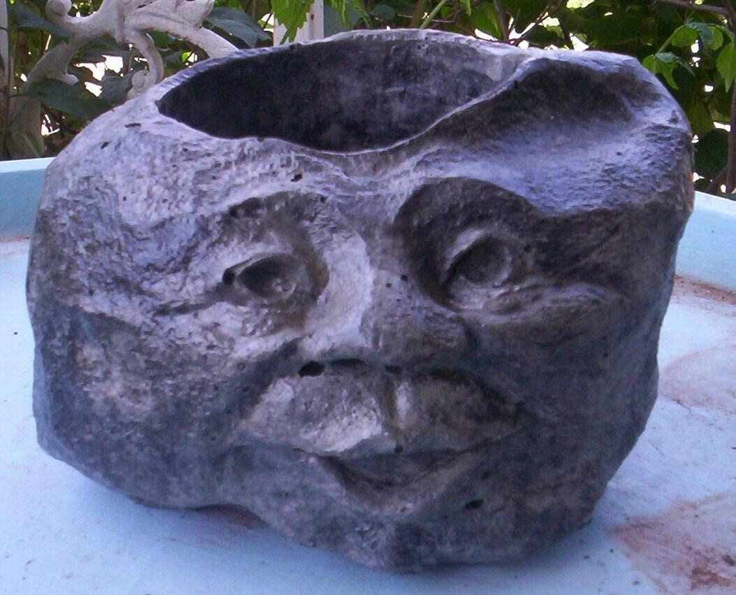 Concrete Garden Rock Face Planter Or Pot By Concretecrone