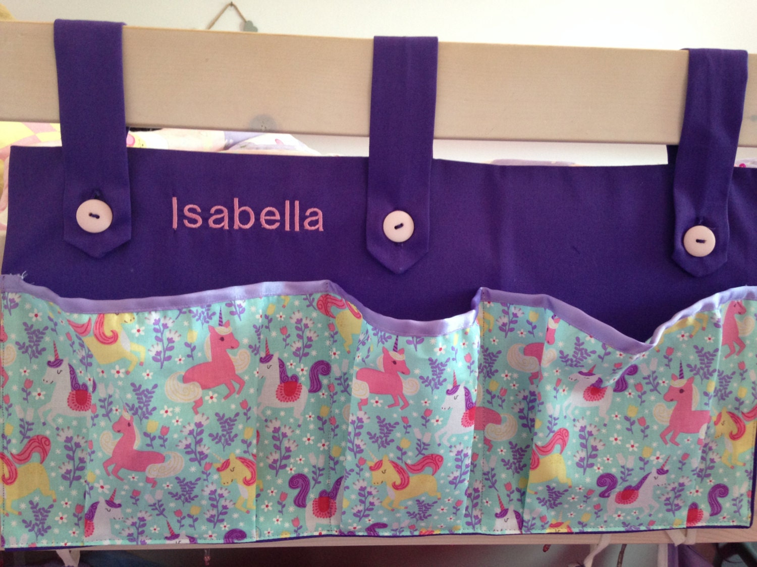 Personalised Bed Tidy Bunk Bed Bottle Holder Midi Bed Tidy Bed Book Holder Bottle and Book Holder Beds Cabin Bed Childs Bed Accessory