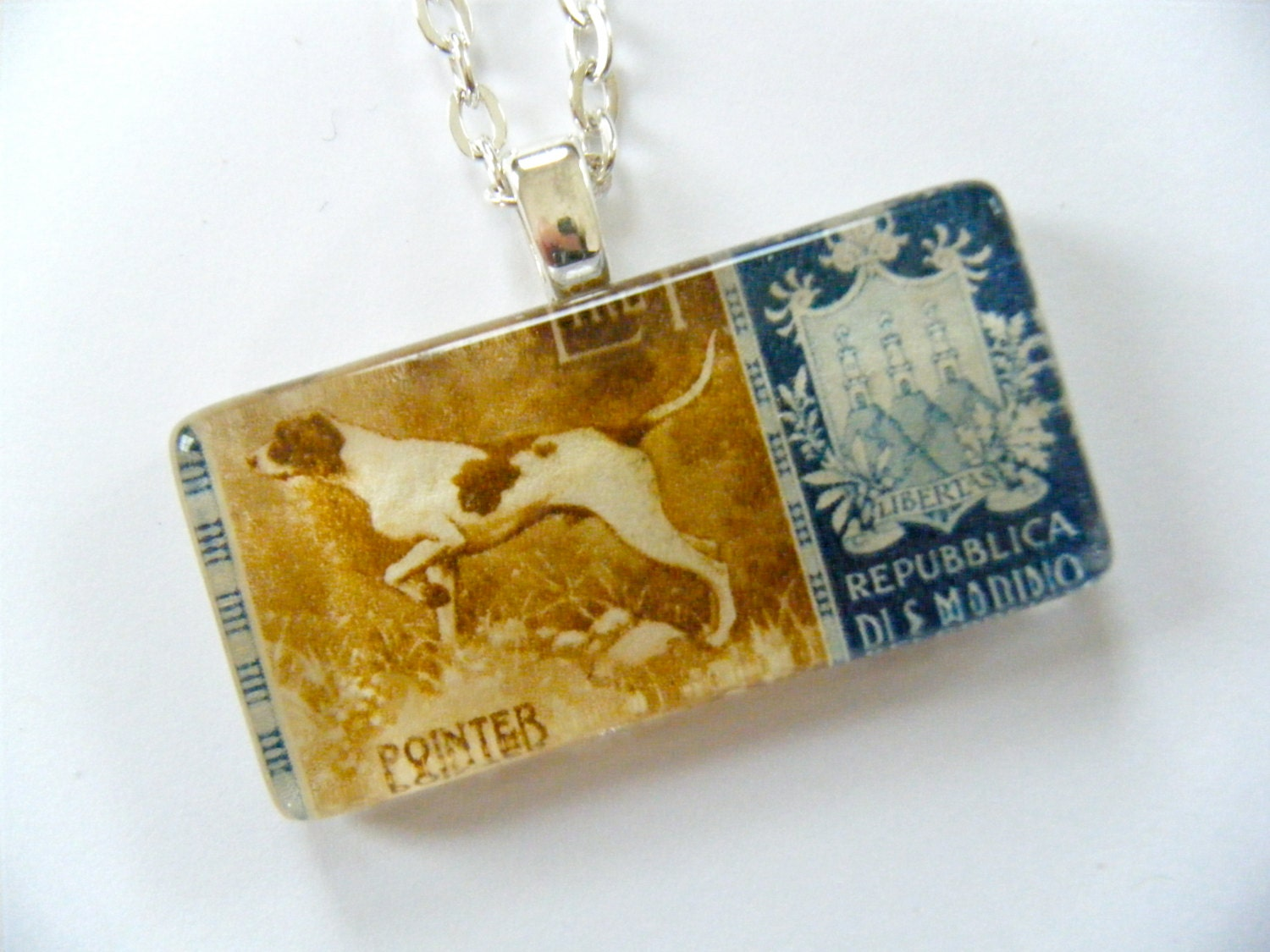 OOAK Pointer Dog Italy Postage Stamp Glass Tile Pendant Republic San Marino Recycled Material Upcycled Paper Postal Italian Necklace Pendant - HeidiKindFinds