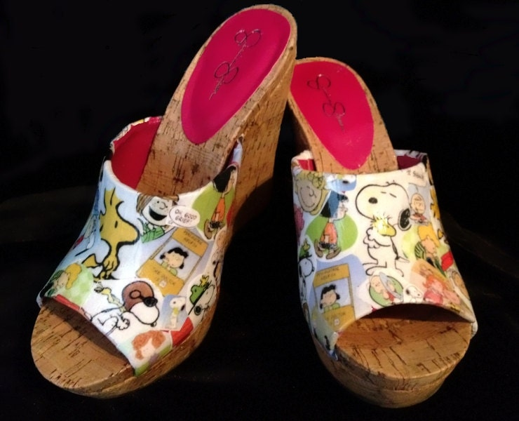 Snoopy, Woodstock, Charlie Brown and the whole Peanuts Gang hand collaged peep toe wedges - RabbleRouserShoes