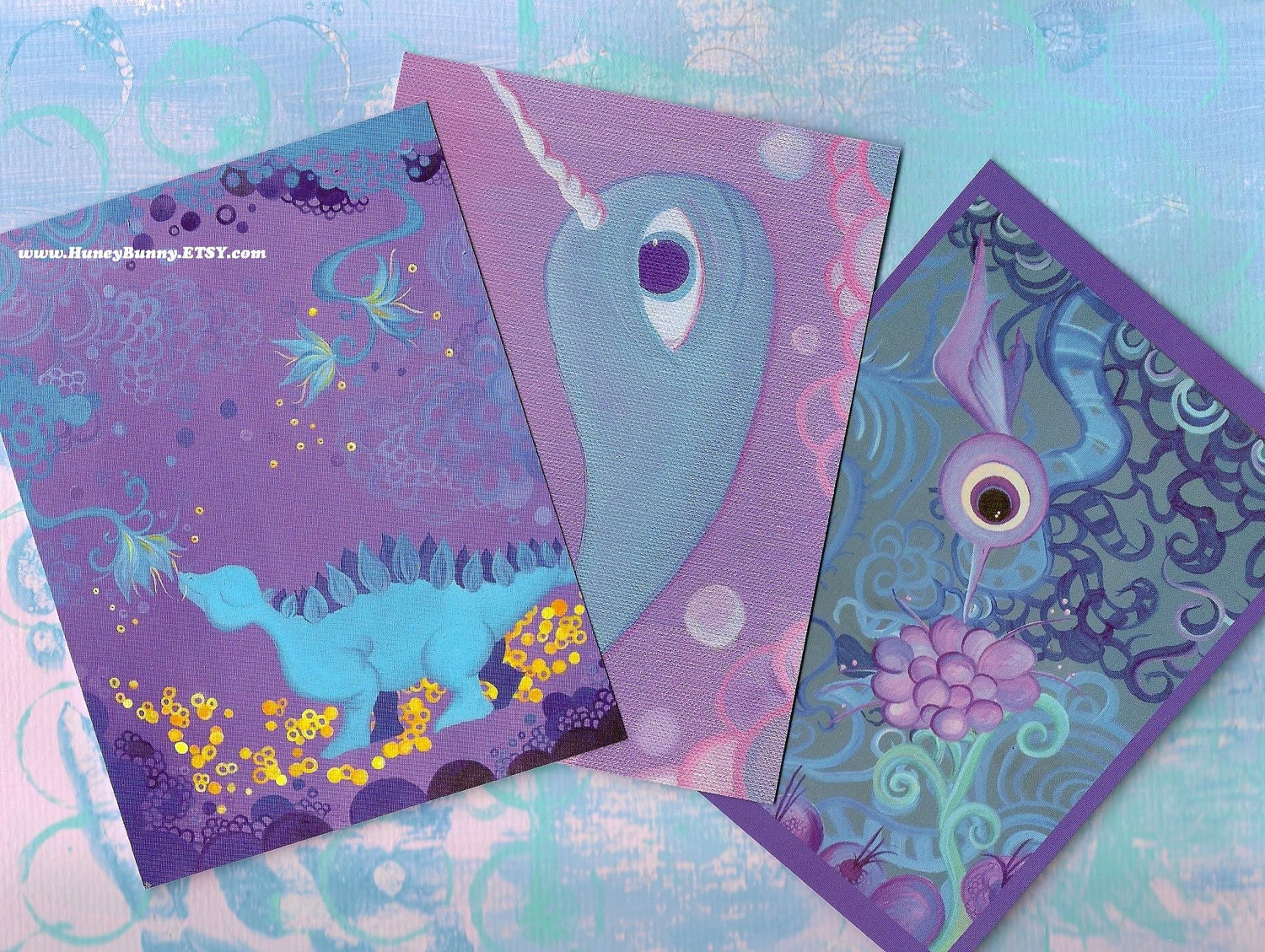 Purple Postcards - set of 3. Original Art Featuring a Narwhal, a Dinosaur, and a Hummingbird.