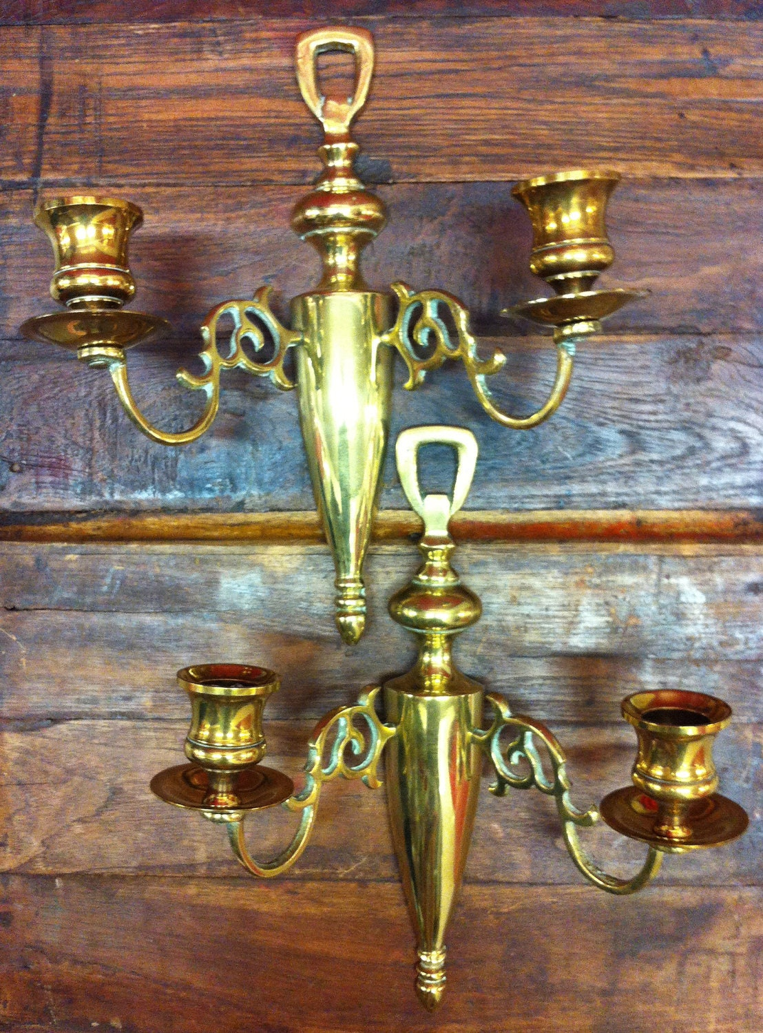 Antique Brass Double Candle Wall Sconce Set/2 by GirlMeetsBoy