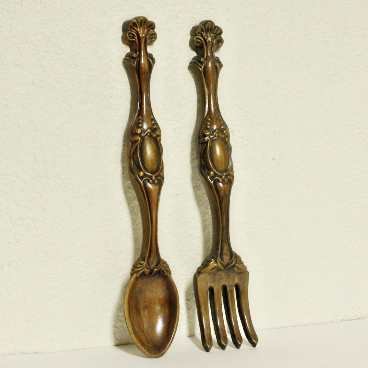 Vintage Wall Decor Fork And Spoon Pottery By Oldcottonwood