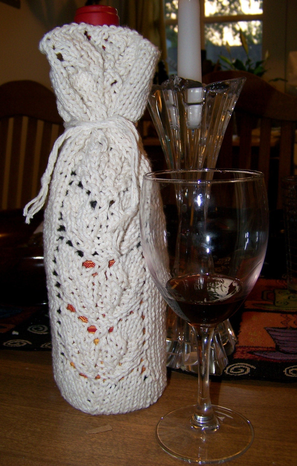 Items similar to Knitted Cotton Wine Bottle Gift Bag / Bottle Cozy on Etsy