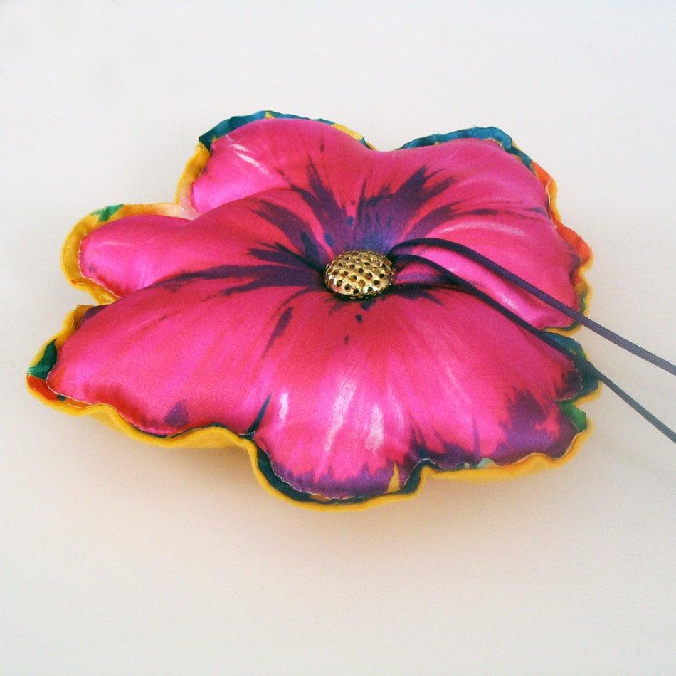 Weddings ring pillow, baby shower cushion, fucshia pink flower, hawaian weddings, handmade - MammaMiaBridal