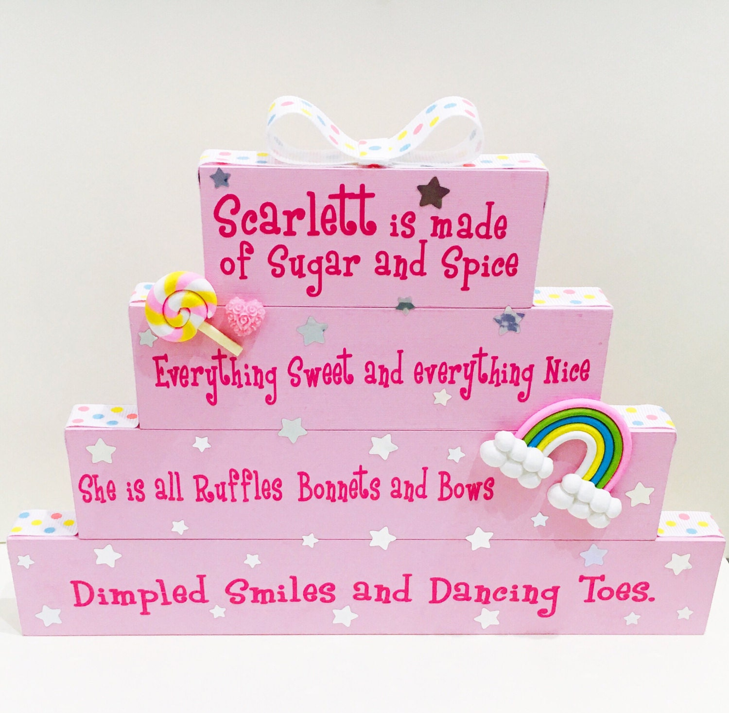 Baby girl stacked plaque quote  baby room  gift for her  christening gift