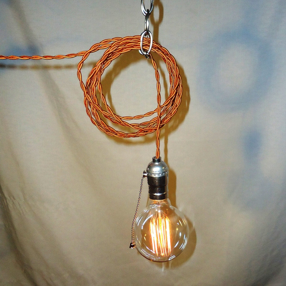 hanging lamp twisted copper cord exposed edison bulb on etsy. Black Bedroom Furniture Sets. Home Design Ideas