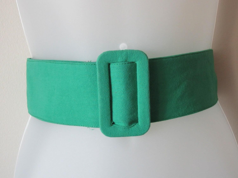 80s wide belt emerald green belt cinch belt by