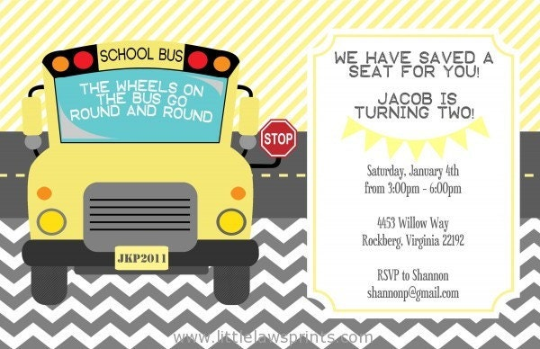 wheels on the bus invitation by littlelawsprints on etsy
