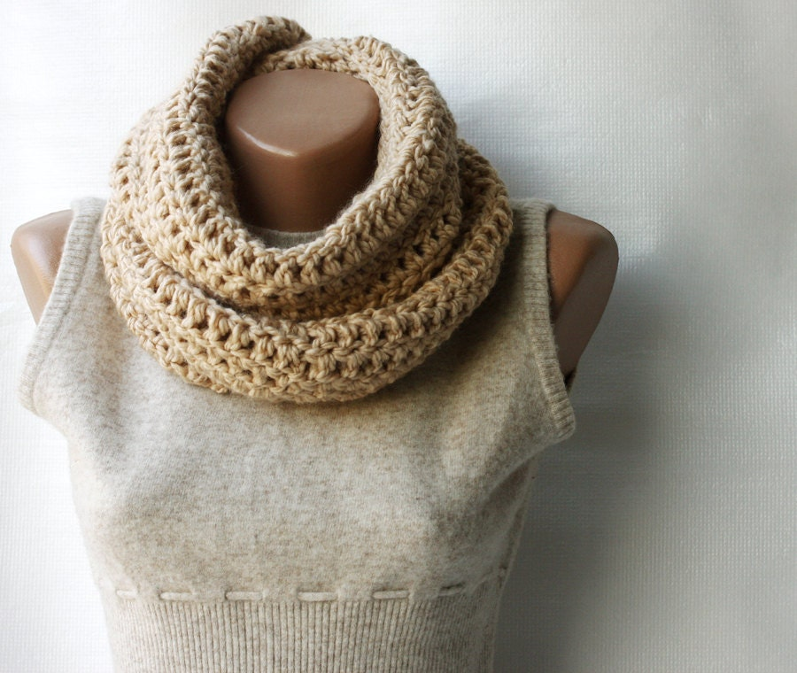 Infinity scarf chunky wool crochet Beige nougat vanilla ecru tan neutral Winter accessories Christmas