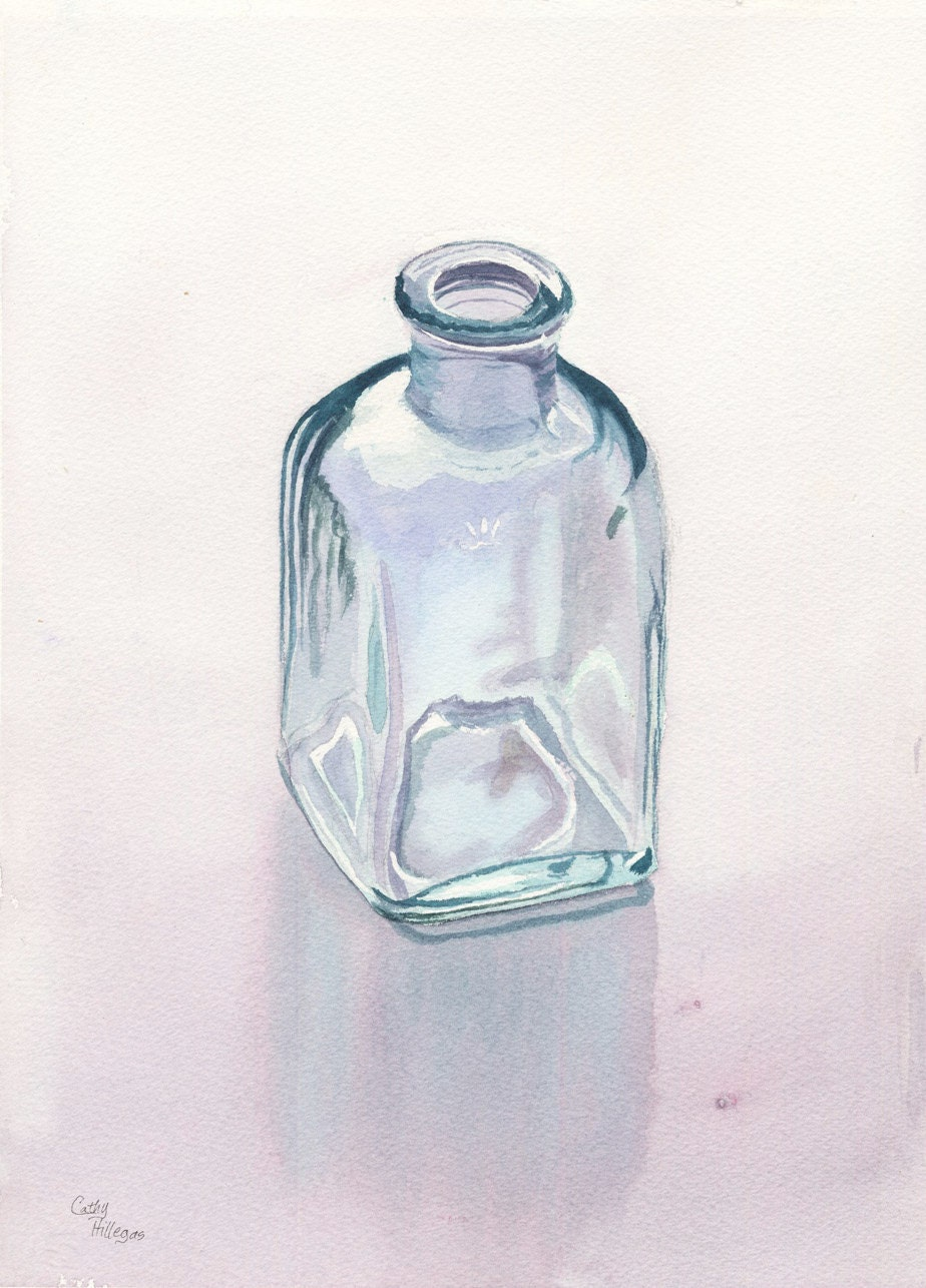 Glass bottle art original watercolor painting by by for How to paint glass painting