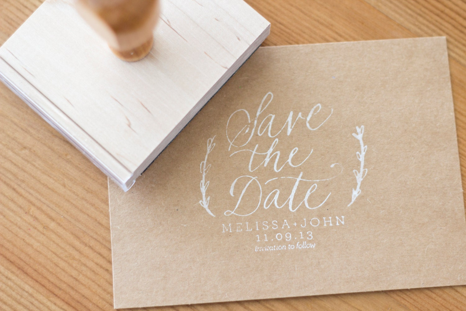 Custom Calligraphy Save The Date Stamp 3 X 2 5 For By