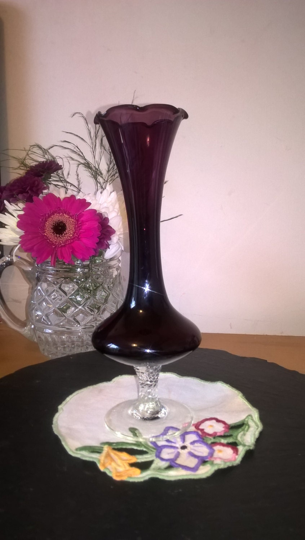 Amethyst Glass Purple Glass Retro Vase 1970s Glass Vase