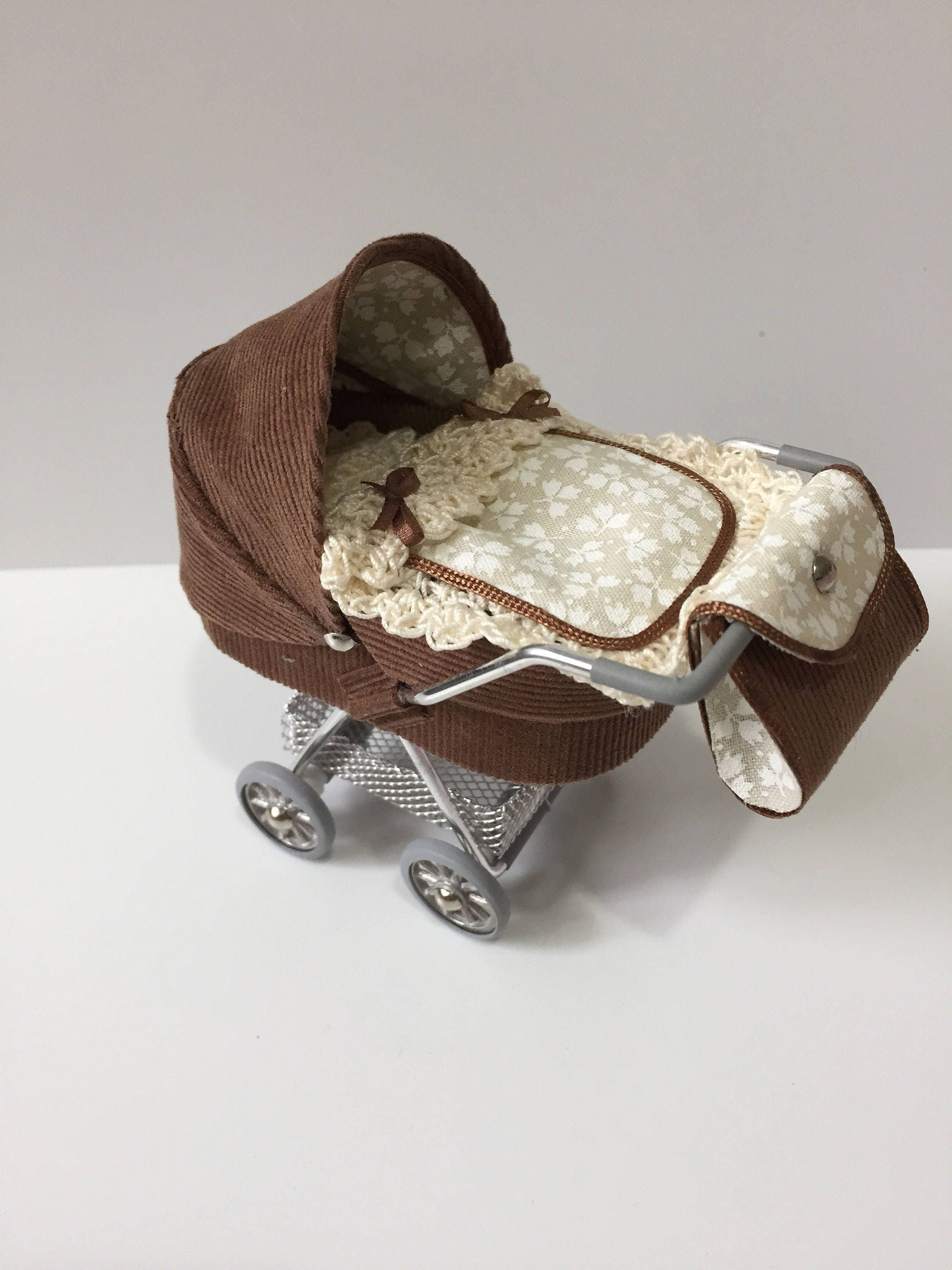 DOLLS HOUSE 112th scale modern dolls house pramstrollerbuggy in brown and cream
