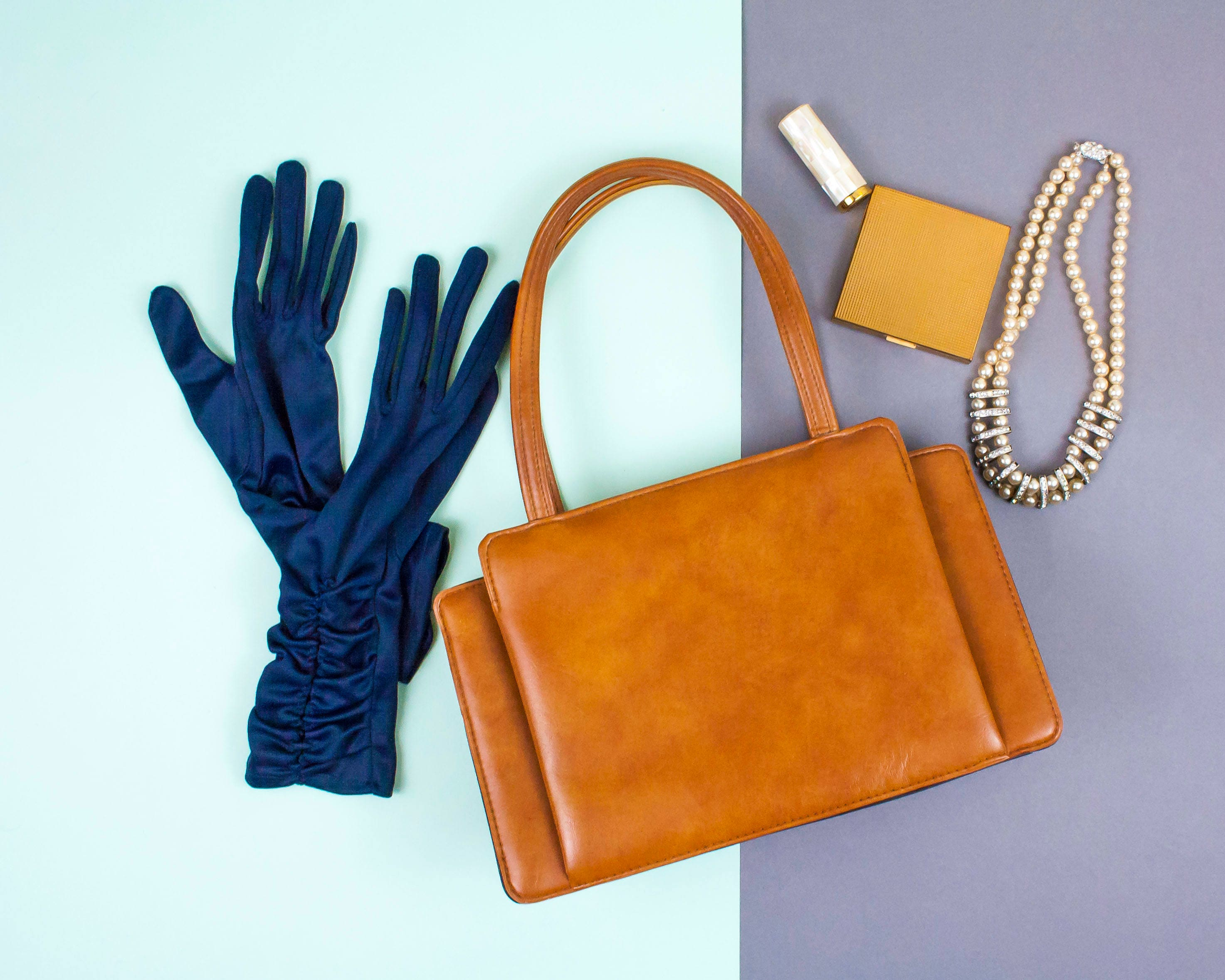 Vintage Tan Bag 60s Handbag Retro Handbag Purse Pin Up Bag Art Deco Style Tan Handbag Faux Leather Vegetarian Top Handle Bag 1960s
