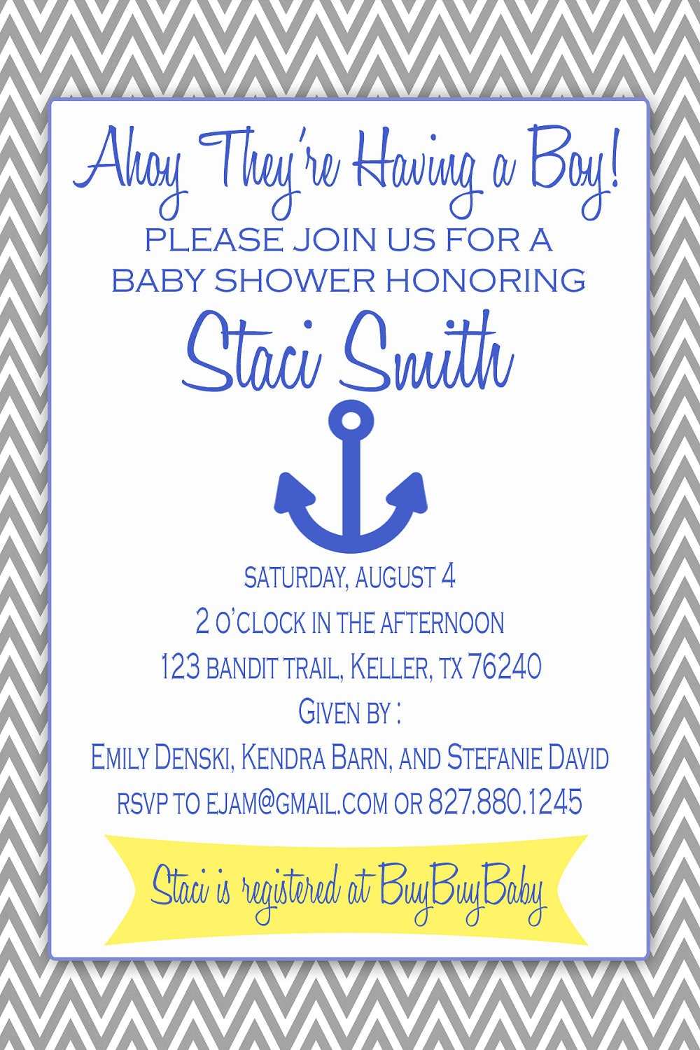 nautical baby shower invitation jpg only