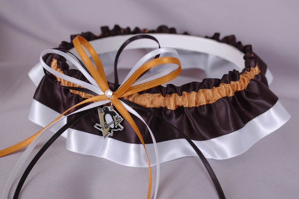 Pittsburgh Penguins Inspired Wedding Garter in Old Gold Black and White