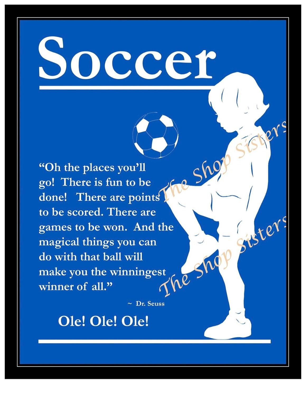 Soccer boy olympics team silhouette blue 8 x 10 print wall art free