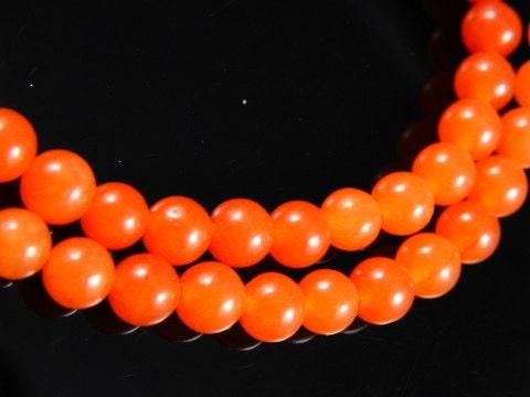 6mm Orange Round Jade Beads, half strand