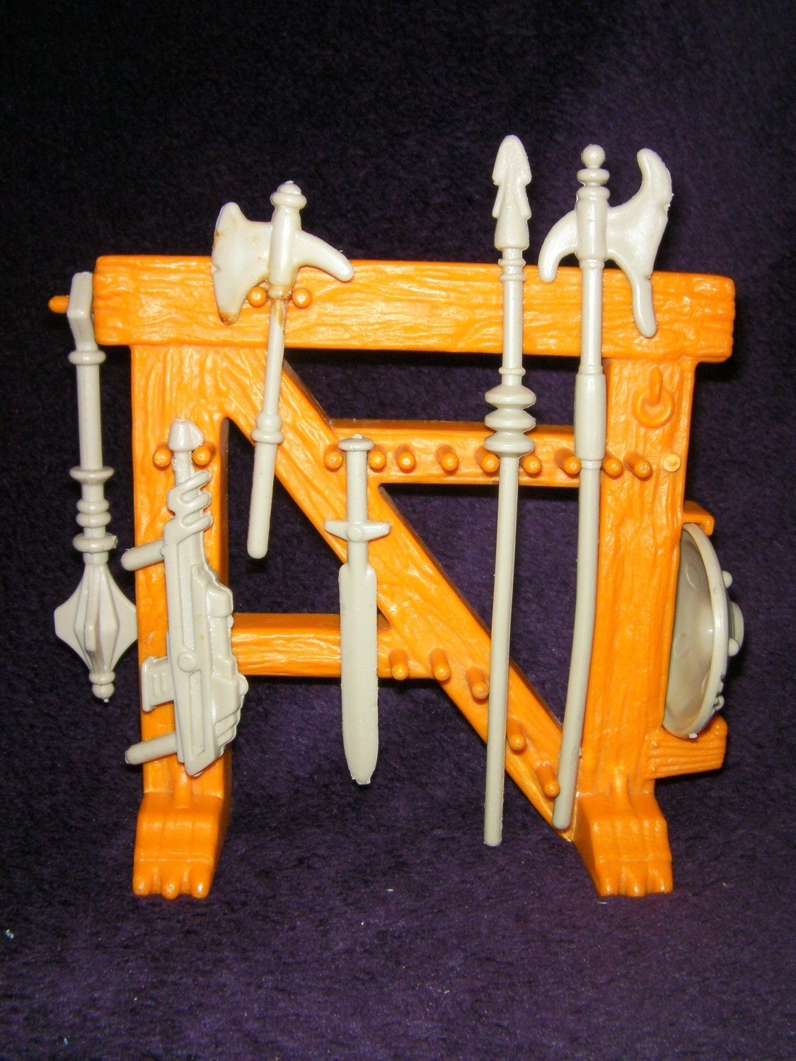 Vintage 1980s Retro HeMan SwordArmor StandHolder  Toy Figure Masters of the Universe By Mattel
