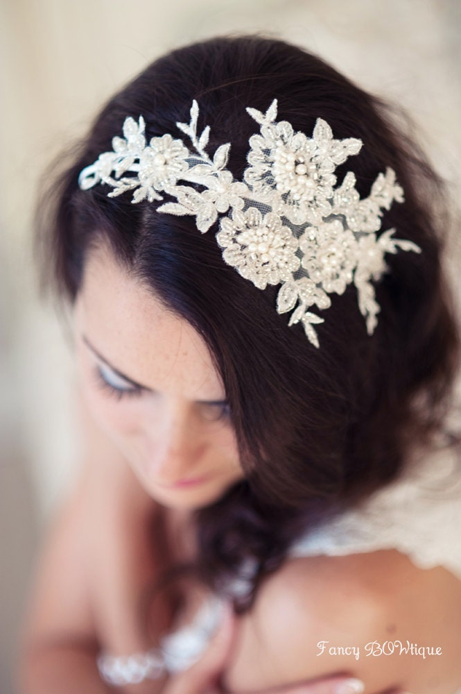Floral bridal headpiece, lace headband, whimsical headband, ivory bridal fascinator-Florence