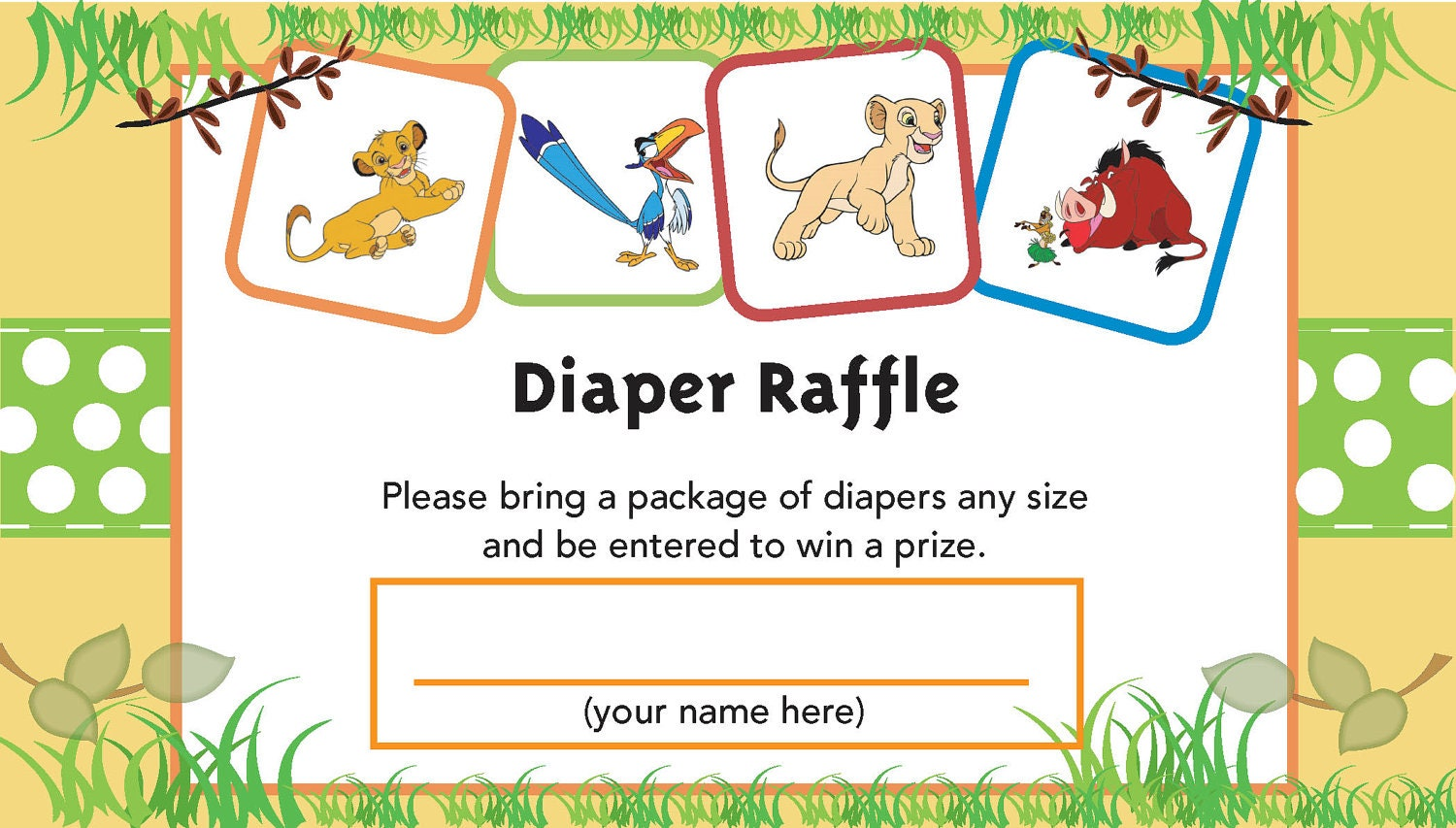 Lion King Printable Diaper Raffle Ticket by jennya309 on Etsy