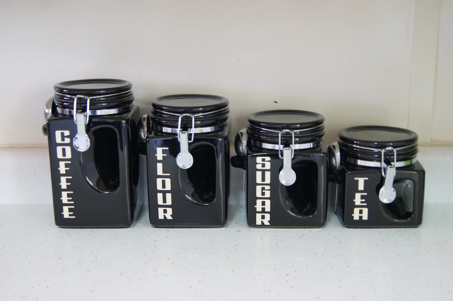 ceramic kitchen canister set black coffee tea by bighornsigns