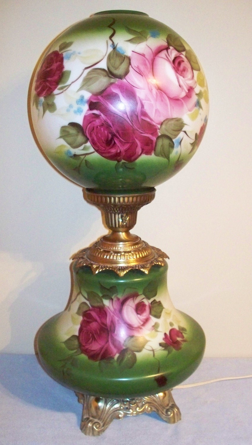 Vintage Electric Parlor Lamp Gwtw Ball Globe By