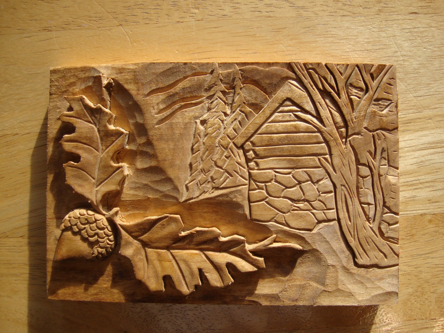 Items similar to acorn and cabins hand carved wooden wall