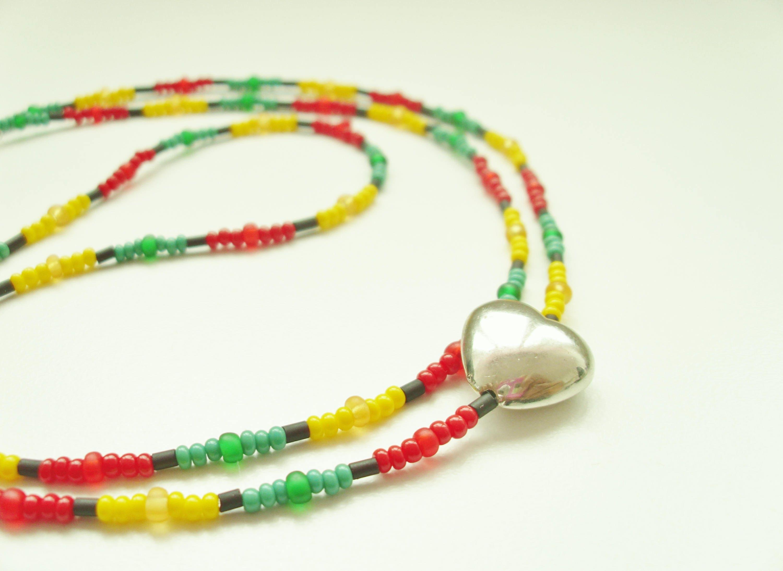 One Love Waistbead  Body Adornment  Caribbean Wear  Rasta Wear  Belly Beads  African Body Adornment  Body Jewellery  Body Jewelry