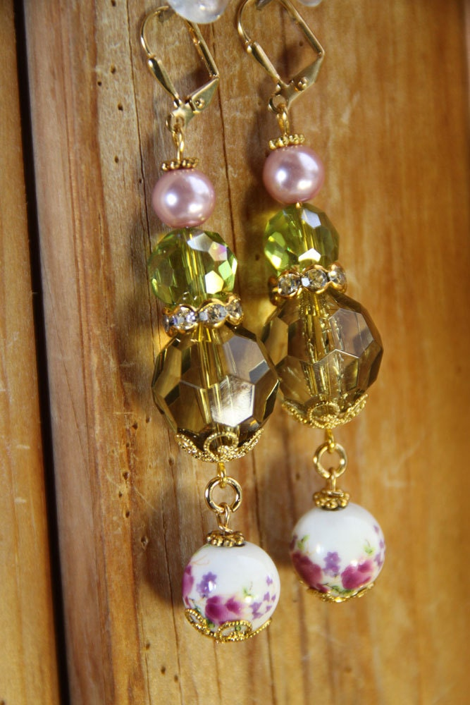 "2"" 3/4 L Floral porcelain, Olive green acrylic, pink glass pearl, dangle, drop earrings"