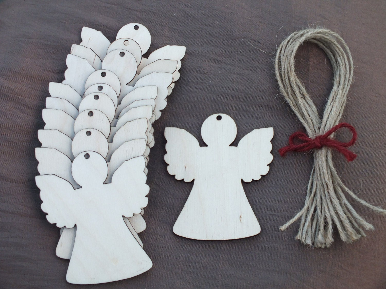 10x Wooden Angel Rustic Decoration Gift Wedding Hanging Unpainted Shape Tag 9x7cm