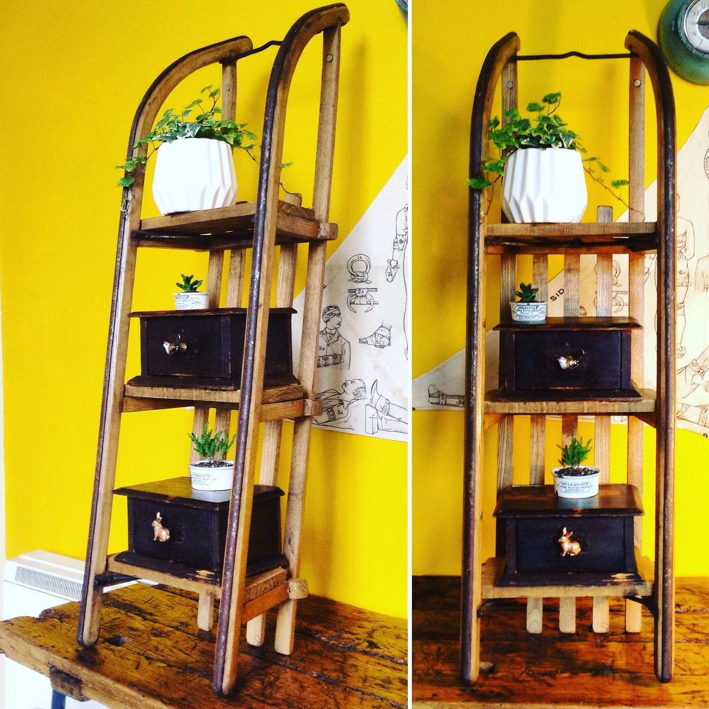 Antique pine sleigh shelves sledge book shelves book shelves unusual shelves rustic shelves. Antique shelves Scandinavian home decor.