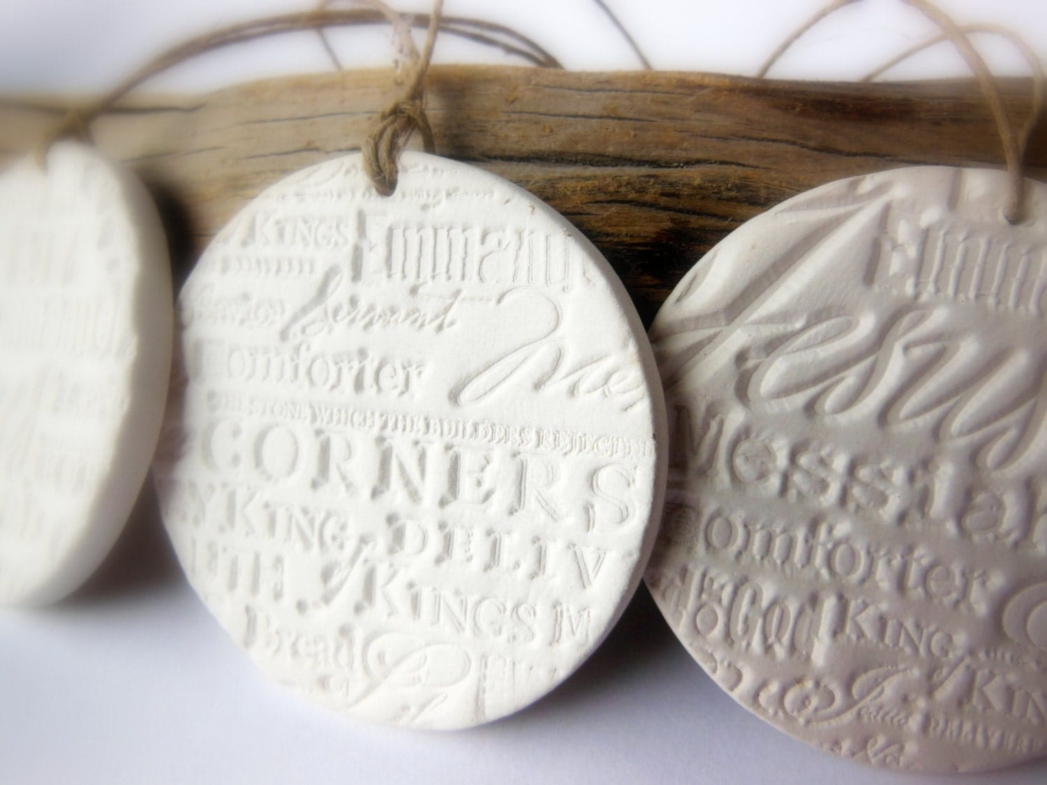 Set of 3 Religious Handmade Ceramic Christmas Ornaments, Unglazed Bisque Round White Pottery Decoration, Names for Christ, Jesus, Messiah - ThisOnesMineDesigns