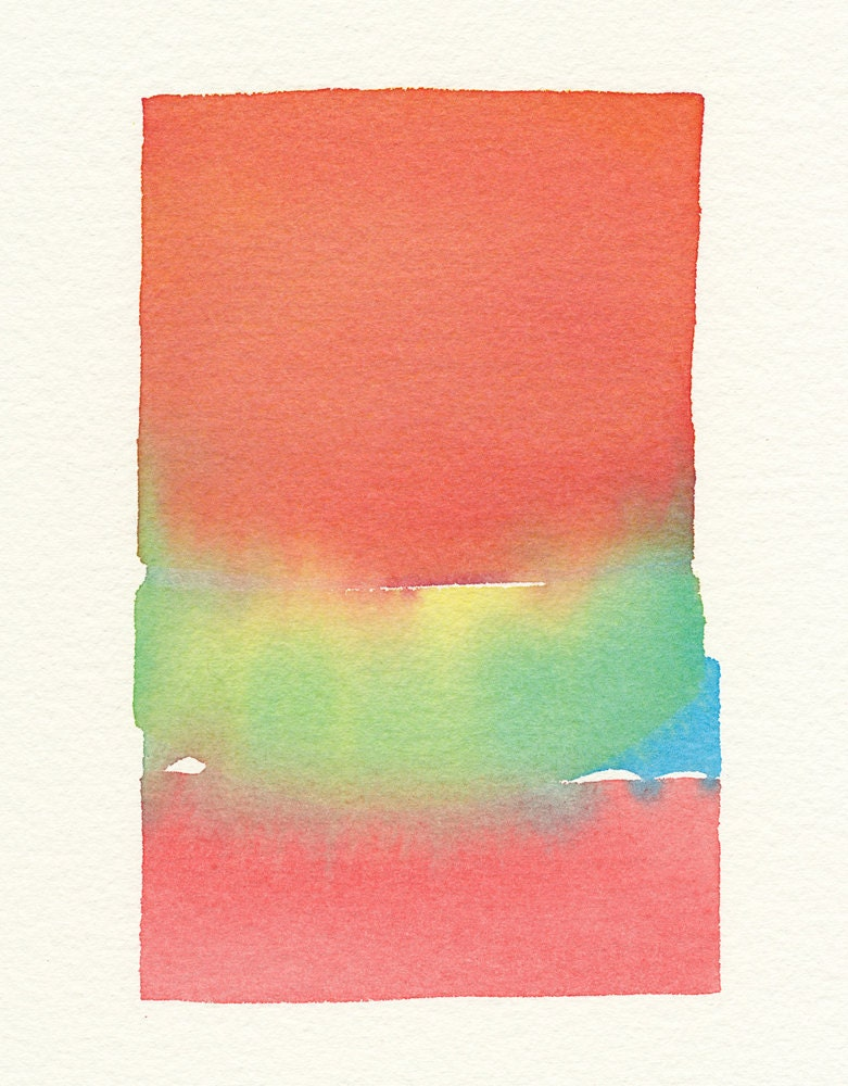 a soft primary color fade original small watercolor painting
