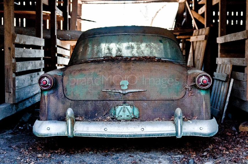 Vintage vehicle Photography auto man cave bumper green mud tail lights detroit ford customline On my way to heaven 11x14 fine art photo - brandMOJOimages