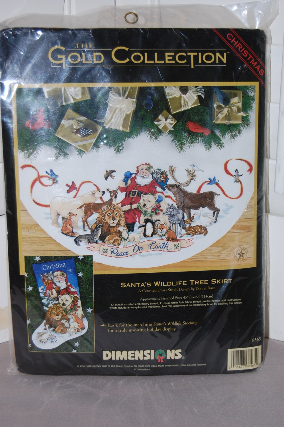Skirt counted cross stitch kit santa s wildlife tree skirt counted