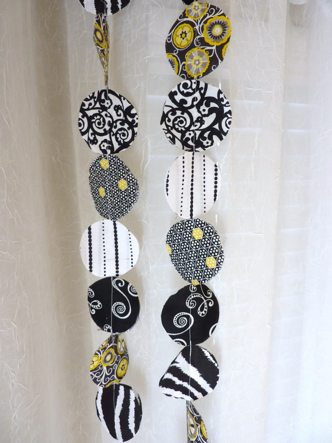 Items Similar To Home Decor Fabric Garland Contemporary Black White Yellow Grey Wall